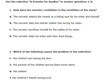 Test Preparation Fiction Passage (A Promise for Analise)
