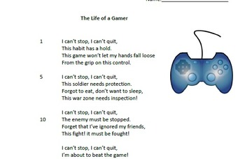 Test Preparation-Poem with Questions (The Life of a Gamer)
