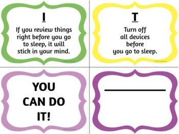 Test Preparation Posters, Task Cards & Checklist