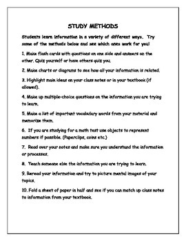 Test Preparation and Study Methods Handout