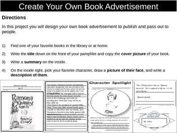 Design Your own Book Advertisment (Project)