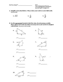 Geometry Test (2 Versions) - Pythagorean Theorem & Special Right Triangles