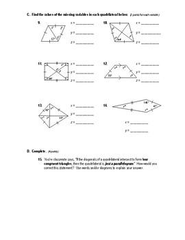 Geometry Test (2 Versions) - Quadrilaterals