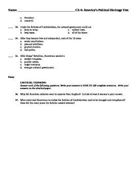 Test, Quiz, Assessment - American Revolution - matching, multiple choice, essay