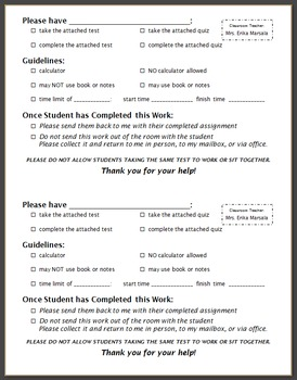 Test & Quiz Completion Instructions Form