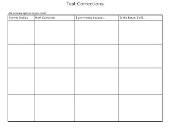 Test / Quiz Corrections
