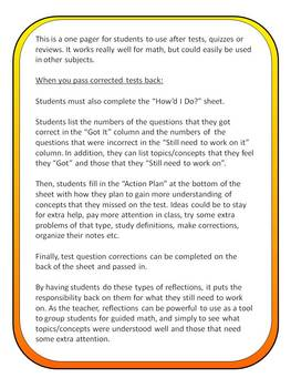 "Test, Quiz, or Review ""Student Reflection Sheet"""