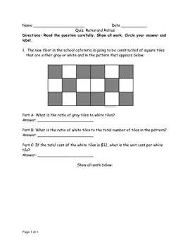 Common Core Ratio and Rate Quiz 6.RP.1 and 6.RP.2