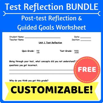 Test Reflection Form & Goals Worksheet Bundle
