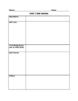 Test Review Form - History