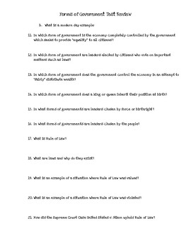 Test Review - Forms of Government and Rule of Law