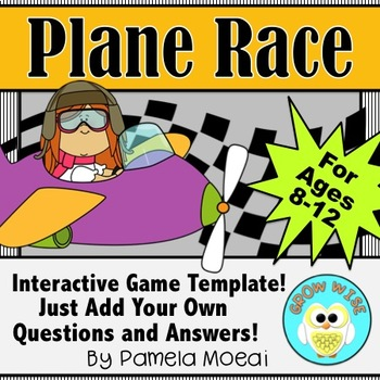 PowerPoint Interactive Test Prep Game:  Plane Race with Question/Answer Template