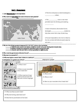 Test Review Guide (Latitude/Longitude, Timelines, Early Humans, Mesopotamia)