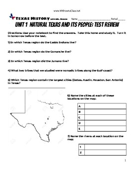 Test Review Unit 01 Natural Texas and Its People