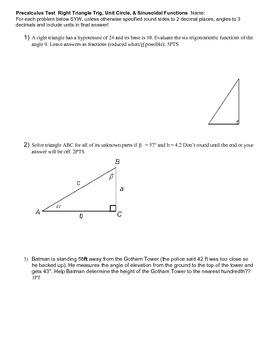 Test Right Triangles Unit Circle Sinusoidals v1-v3