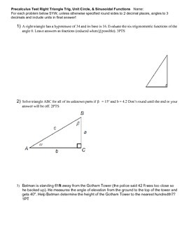 Test Right Triangles Unit Circle Sinusoidals v1-v3