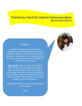 Test Score Card - Parent Communication