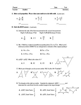 Geometry Test (2 Versions) - Similar Triangles (no proofs)