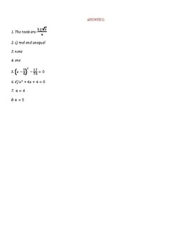 Test & Answer sheet - Solving quadratic equations (PDF)
