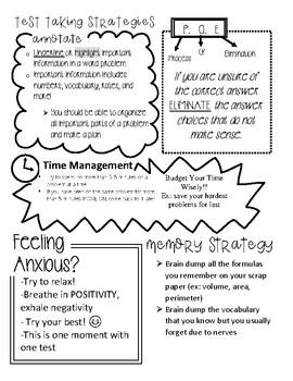 Printable: Test Taking Strategies