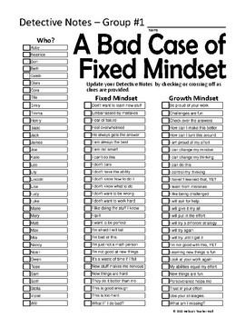 Growth Mindset Game The Mystery of the Bad Case of Fixed Mindset Activity