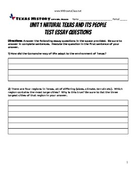 Test Supplement Essay Questions Unit 01 Natural Texas and Its People