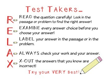 Test Takers RELAX poster and bookmarks