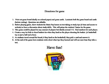 Test-Taking and Study Skills Practice Basketball Game-school counseling