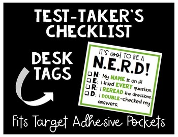 Test Taking Checklist Desk Tag for Target Pockets