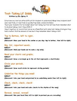 "Test-Taking ""Lil' Diddy""-Handout"