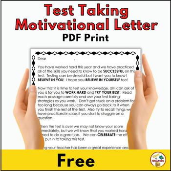 Test Taking Motivational Letter by Hunt 4 Treasure | TpT