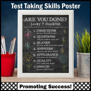 Test Taking Poster, Early Finishers Poster, Test Taking Strategies