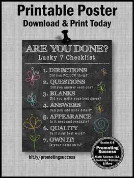 Test Taking Strategies Poster, Are You Done? Early Finishers Large 8x10 or 16x20