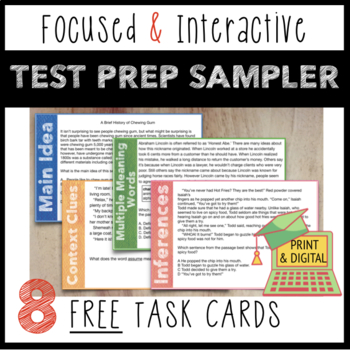 Test-Taking Review:Mini-Passages w/ Main Idea, Inference & Vocabulary Questions