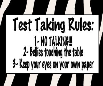 Test Taking Rules: Zebra