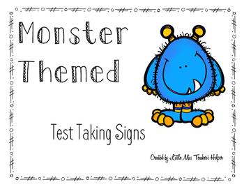 Test Taking Sign [Monster Themed]