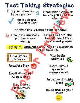 "Test Taking Strategies (16""x20"") Printable Poster"
