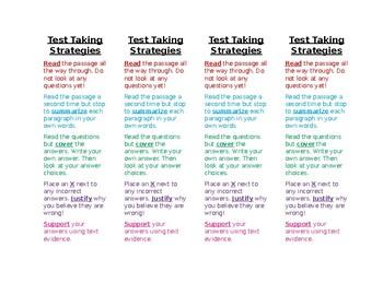 Test Taking Strategies Bookmarks