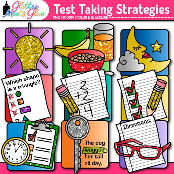 Test Taking Strategies Clip Art {9 Strategies to Reduce Anxiety for The Big Day}