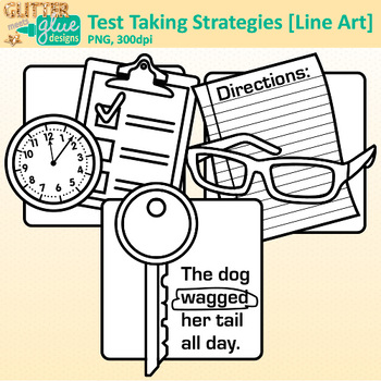 Test Taking Strategies Clip Art {Great for Worksheets & Handouts} B&W