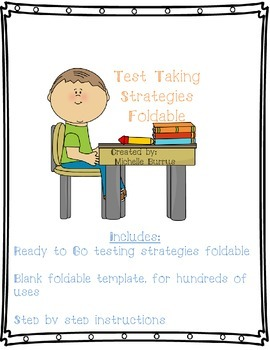 Test Taking Strategies Foldable Plus Blank Template