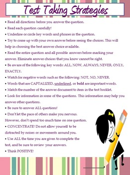 Test Taking Strategies Handout, Poster and PowerPoint