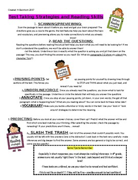 Test Taking Strategies/Reading Skills Handout (Before, Dur