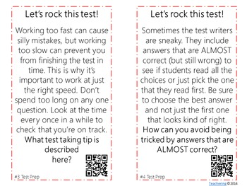 Test Taking Strategies Task Cards with QR Codes
