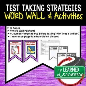 Test Taking Strategies Word Wall and Activity Page Templates
