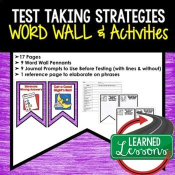 Test Taking Strategies Word Wall, Test Taking Activities