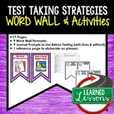 Test Taking Strategies Word Wall, Test Taking Activities
