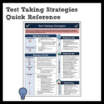 Test Taking Strategies and Preparation Quick Reference for Middle School