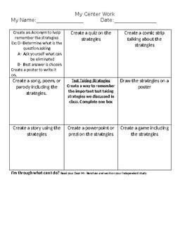 Test Taking Strategy Centerwork Independent Work
