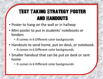Test Taking Strategy Poster and Handout